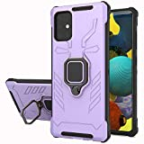 Samsung Galaxy A51 5G/ 4G Case, Yiakeng Military Grade Protection Shockproof Cover Case with Ring Bracket for Samsung Galaxy A51 5G/ 4G (Purple)