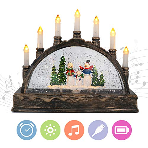 Eldnacele Christmas Musical Water Glittering Snow Globe Lantern Swirling Dome, USB and Battery Powered Festival Ornament and Gifts for Adults and Children, Snowman