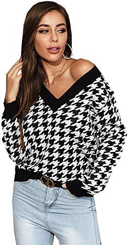 YYYSHOPP Suéteres Jersey de punto de manga larga con cuello en V y cuello en V para mujer (color: XL)