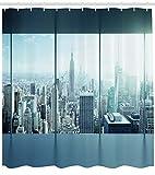 ZHANGSHUQI New York Duschvorhang Urban Modern City Print für Badezimmer Duschvorhang strapazierfähiges Stoffzubehör kreativ mit 12 Haken 180X180CM