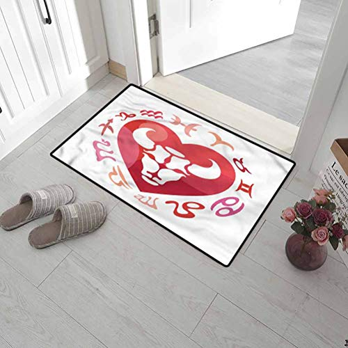SCOCICI1588 Bath Mat Taurus, Zodiac Sign Bull Personality Original Durable Door Mat Ideal for Inside Outside High Traffic Area 35 x 47 Inch