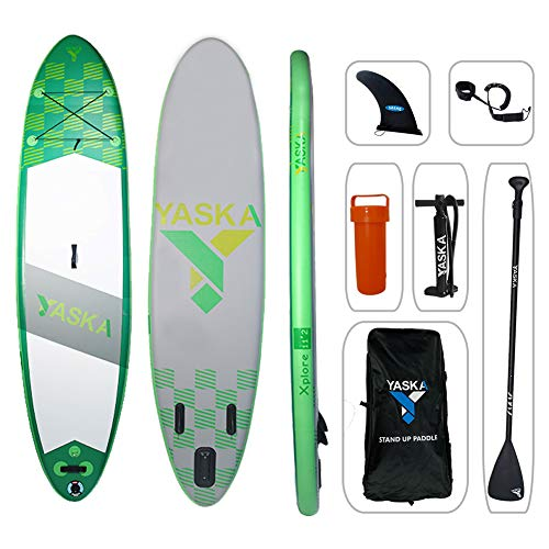 YASKA Inflatable Stand Up Paddle Board Non-Slip Deck(6 Inches Thick) with Adjustable Paddle,Fin, Leash, Hand Pump, Backpack and Repair Kit