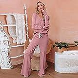 JJHR Conjuntos de Pijamas sólidos Sexis de 2 Piezas, Ropa de Dormir de algodón para Mujer, Ropa de Invierno de Manga Larga para el hogar, Pijama para salón, Talla Grande-Rosado_S