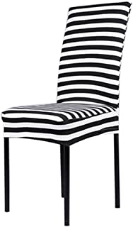 Qianle Spandex Slipcover Elastic Seat Covers Dining Chaircovers Black and White Stripes