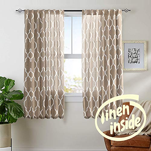 jinchan Linen Curtains for Living Room Curtain - Quatrefoil Flax Linen Look Lattice Moroccan Tile Print Window Treatment Set for Bedroom Geometry - 72 inch Long - (Taupe, Set of 2 Panels)