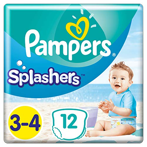 Pampers Einweg-Schwimmwindeln Splashers Größe 3 – 4 (6 – 11 kg) für optimalen Schutz im Wasser, 12 Windeln