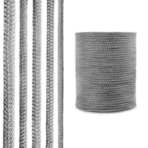 STEIGNER Cordón de Fibra de Vidrio SKD02-6, 10 m, 6 mm, Gris Oscuro Sellador Resistente a Temperaturas hasta 550°C
