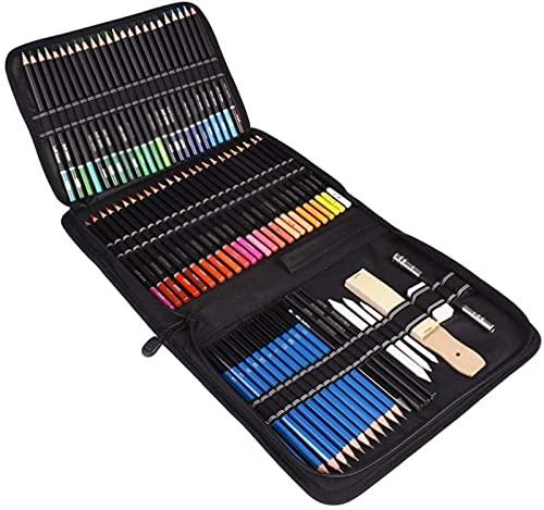YUIOLIL Juego de Pinceles de Pintura 95PCS Juego de lápices de Colores al óleo Sketch Soft Core Suministros de Arte Profesional para Adultos Artista Dibujo para Colorear con Estuche portátil