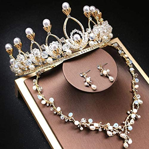 KUNQ Navidad Regalo Corona Nupcial De Ornamento Cuentas De Cristal Accesorios De Boda Accesorios De Boda Aretes Collar De oro De Tres Piezas