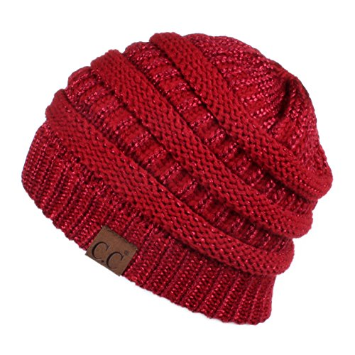 Hatsandscarf CC Exclusives Solid Color Beanie Tail Hat for Adult (HAT-20A-Metallic) (red Metallic)