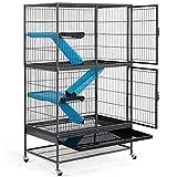 Yaheetech Grande Cage pour Rongeur 4 Niveaux, Cage pour Furets/écureuils/Chinchillas Noir 78x51x137cm