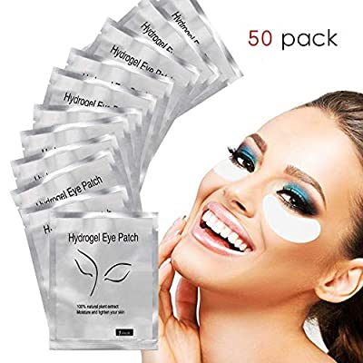 Zhichengbosi 50 Pairs Lint Free Lash Pads, Under Eye Gel Extension Pads, Hydrogel Eye Gel Patches with Smooth Front Side and Collagen Back Side for DIY Eyelash Makeup