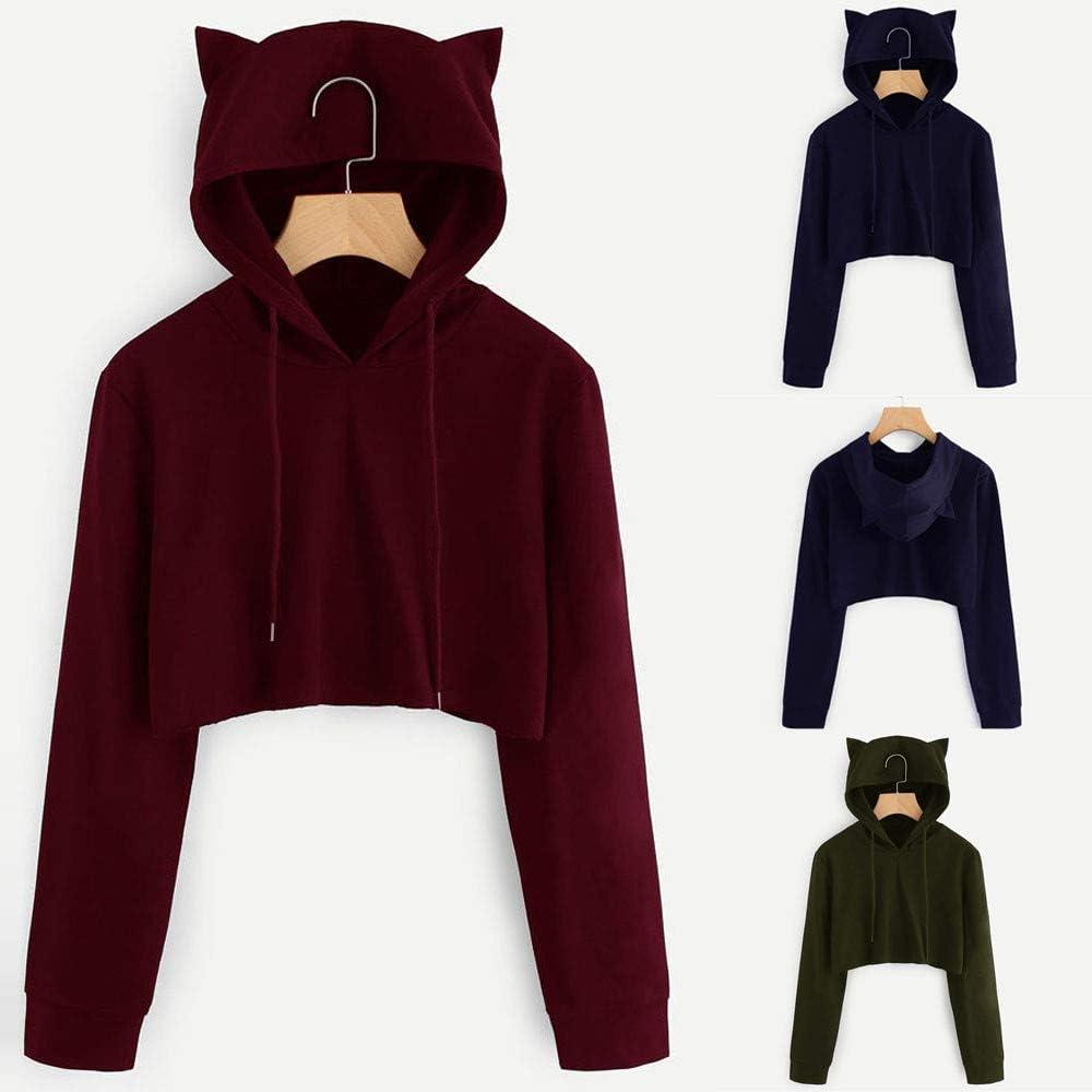OIKAY Katze Ohr Sweatshirt Damen Mäntel Langarm Hoodie Pullover mit Kapuze Pullover Tops Bluse Armeegrün