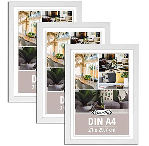 Close Up Posterrahmen, Bilderrrahmen 3-er Set DIN A4 (weiß)