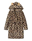 Teen Robe for Girls Cozy Classic Yellow Leopard...