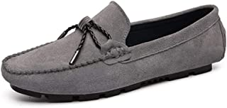 HaiNing Zheng Driving Loafers for Men Boat Moccasins Slip On Suede Leather Lug Sole Super Flexible Stitched Breathable Solid Color Elegant Decoration (Color : Gray, Size : 7 UK)