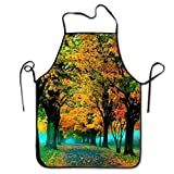 IUBBKI Delantal de árbol de Arce otoño, Delantales Divertidos con Babero para Hombres y Mujeres, Delantal de Cocina para Hornear