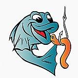 SUIFENG Selbstklebend Aufkleb 11.3 cm X 12.7 cm Fisherman Fish Fishing Worm Bite Hook Lustiger Lnterest Reflective Car Sticker