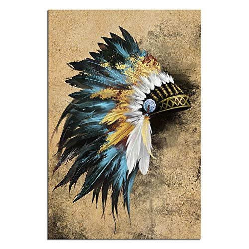 LevvArts Indian Canvas Wall Art Native American Chiefs Headdress Feathered Painting Canvas Print Vintage Home Living Room Gold and Blue Wall Decor Gallery Wrap Ready to Hang 24x36inches