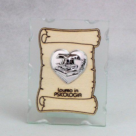 DLM25030 (Kit 12 Pezzi) Icona in Vetro con Pergamena e Piastra Cuore Laurea in Psicologia bomboniera