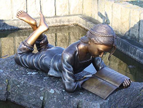H. Packmor GmbH Figura de bronce tumbado con un libro de decoración de jardín – 69 x 31 x 29 cm