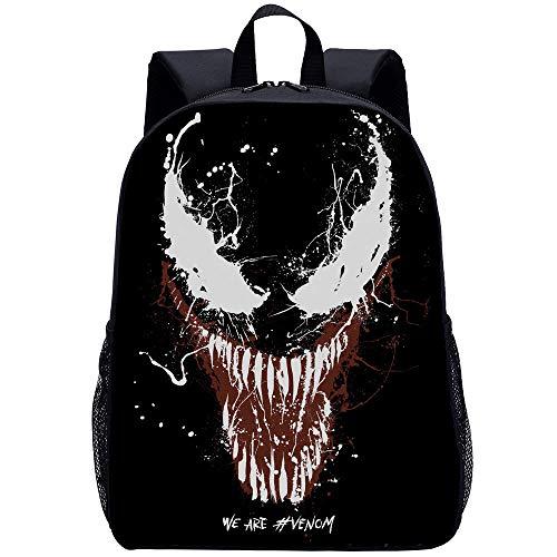 Venom School Boys Rucksack Kinder Schultasche Lunch Box Schulrucksack Film- Und Fernsehfans wasserdichte 3D-leichte Lässige Schultasche Für Jugendliche