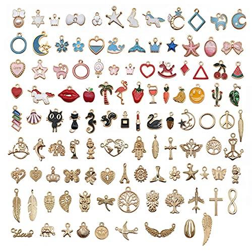 110 Piezas Charm Colgante Esmalte Accesorios de Aleación, DIY Dijes Colgantes del Encanto de Joyería para Fabricación de Llaveros/Pulseras/Collares/Pendientes
