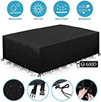 king do way Garden Furniture Covers,Outdoor Furniture Cover 600D Heavy Duty Oxford Polyester Rectangular Patio Table...