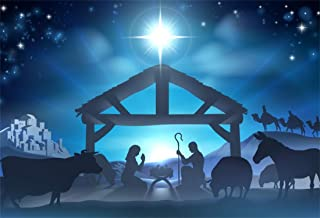 Yeele 5x3ft Photography Background Birth of Jesus Christmas Night Manger Nativity Scene Silhouette Farm Barn Stable Christianity Prop Studio Photo Booth Photo Backdrop Wallpaper
