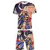 Nyrgyn Camiseta De Manga Corta De Verano para Hombre Top + Shorts Sword Art Online Conjunto De Chándal De 2 Piezas,XL