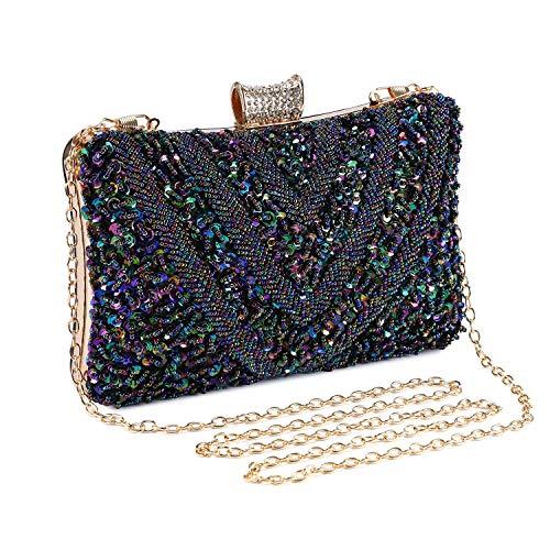 Bolso de Noche Bolso de Hombro Mujer Glitter Diamond Hard Shell Clutches...