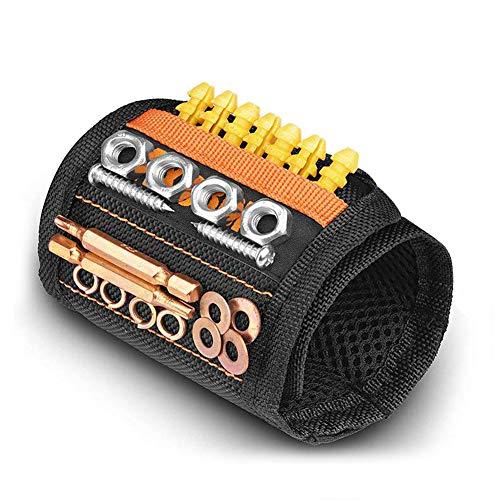 Magnetische Armbänder mit 15 Leistungsstarken Magneten, AxeBon Magnetarmband mit Halten elastisches Band für Halte schrauben, Bits, Nägel, Dübel, kleine Werkzeuge für DIY Handwerker, Vater, Ehemann