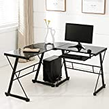 Mecor L Shaped Tempered Glass Computer Desk W/Keyboard Tray & CPU Stand-Corner Laptop PC Table Workstation Home Office Furniture, Black