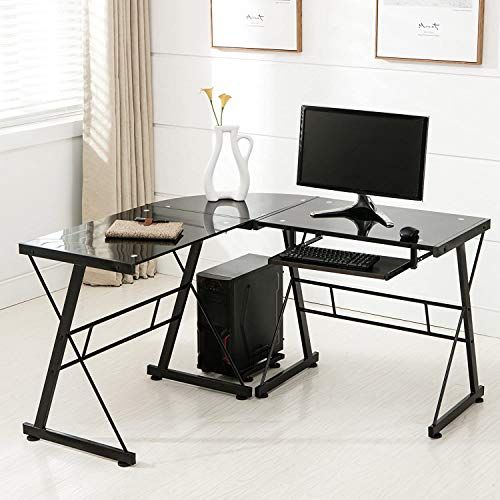 Mecor L-Shaped Corner Computer Desk with Shelf, Glass Laptop Home Office Furniture, Glass & Metal, Clear