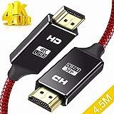 HDMIケーブル 2m/4.5 m/ハイスピード HDMI CABLE 最新 HDMI規格 Ver2.0 HDMI-HDMI ケーブル1080p 3D 4K スーパースリム 赤 (4.5M)