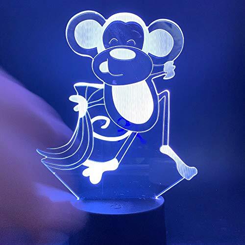 Nur 1 Stück 3D Lampe Affe Tier Nachtlicht für Kinder Wohnzimmer Tier Lampe Berührungssensor Nachtlichter 7 Farbwechsel Led Nachtlicht