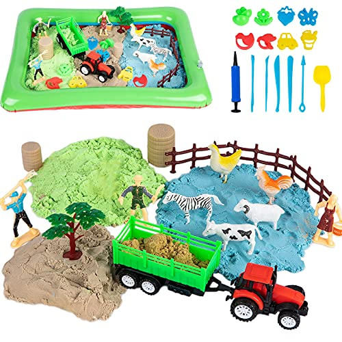 Play Sand for Sandbox in 3 Colors, Farm Toys for Kids includes Inflatable Sand Tray, 8 Molding Tools, Ideal Magic Sand Gift for Toddler Boys Girls 34 PCS for Toddler Boys Girls Age 3 4 5 6 7 Years Old
