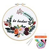 Louise Maelys Funny Embroidery Kit for Beginners Flower Wreath Cross Stitch Adults Needlepoint Kit DIY Embroidery Starter Kit