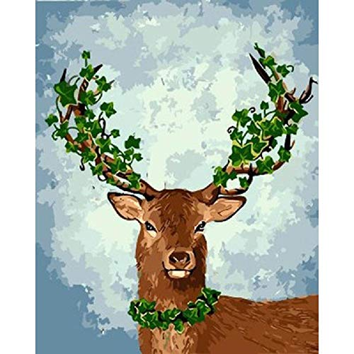 Full Drill Diamond Painting Kits for Adults,Embroidery Rhinestone Craft Canvas for Home Wall Decor,Christmas Deer 30x40cm