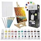 Tavolozza de peinture acrylique Set avec table Chevalet dont 12 Couleurs Peintures acryliques, 8 pinceaux, 2 panneaux de toile, etc. Palette pour les étudiants et débutants Artiste