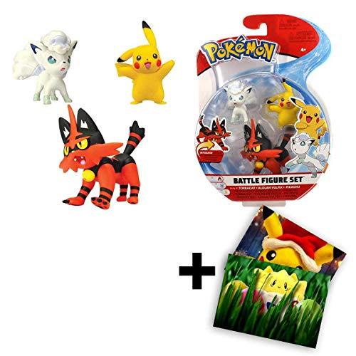 Lively Moments Pokemon Figuren Battle Figure Set 3 Figuren Sammelfiguren Spielset Miezunder vs Alola-Vulpix und Pikachu im Blister + GRATIS Grußkarte
