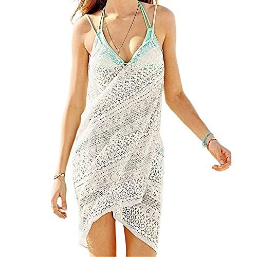 JFAN Copricostume da Bagno Donna Estate Abito da Spiaggia Copribikini Pizzo Cavo Scollo A V Backless Cover Up Dress