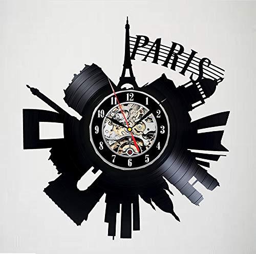Knncch Horloge Murale pour Disque Vinyle Paris - Décoration Excitante - Un Cadeau Idéal pour Les Enfants, Les Adultes Et Les Hommes
