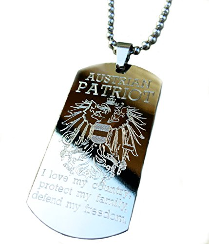 Real Bullet Design Dog-Tag Austrian Patriot Österreich Adler - I Love My Country, Protect My Family, Defend My Freedom