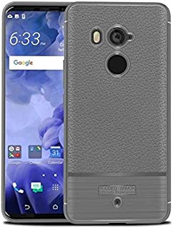 HTC U11 Plus Luxury Litchi Leather Brushed Texture Case Cover - Gray