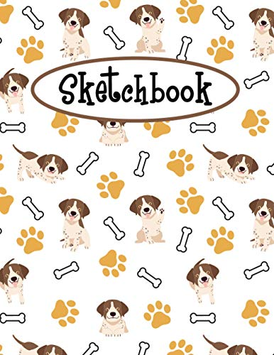 Sketchbook: Cute German Shorthaired Pointer Sketchbook | Large Blank Paper For Drawing, Doodling Painting, Or Sketching | Gifts for Kids Girls Boys ... | Pretty Little Puppies Pattern Cover Design