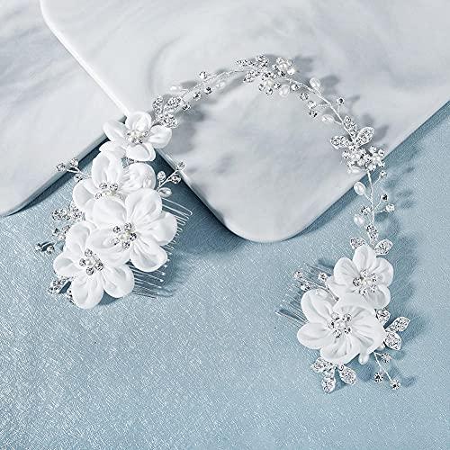 Peinetas Para El Pelo Boda,Bridal Doble Cabeza Peine Plata, Rhinestone Floral Pearl...