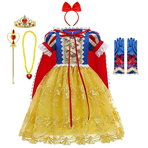 FMYFWY Nias Vestidos de Blancanieves con Capa Disfraz de Carnaval Princesa Cumpleaos Traje de Halloween Navidad Fiesta de Cosplay Ceremonia Aniversario Bautizo Comunin Boda + Accesorios 11-12