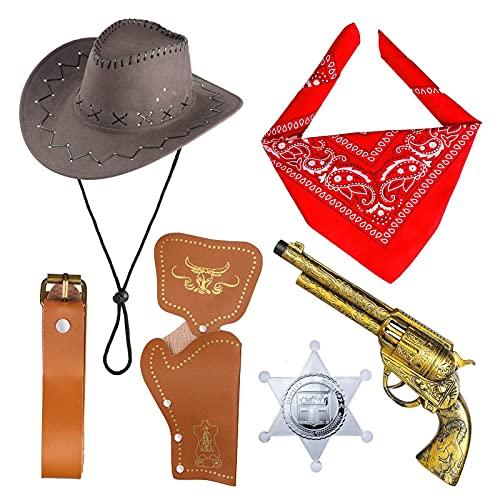REYOK Accesorios de Disfraces de Vaquero Sombrero de Vaquero Pistolas de Juguete con Funda de cinturón Juego de Vaquero para la Fiesta de Halloween