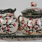 Polish Pottery - Cream and Sugar Set - Cherry Blossom - The Polish Pottery Outlet